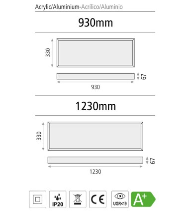 Dimensiones Plafón de techo rectangular Faro LED - ACB