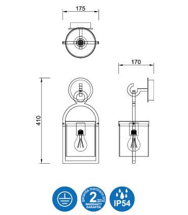 Dimensiones Aplique MAYA 1L IP54 gris 45cm 6551 - Mantra