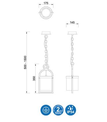 Dimensiones lámpara colgante Maya - Mantra