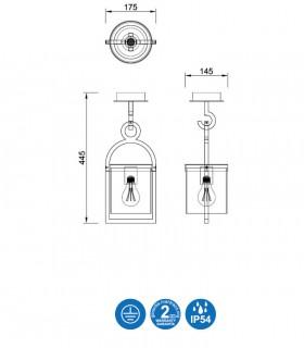Dimensiones Lámpara plafón MAYA 1L IP54 gris 45cm 6553 - Mantra