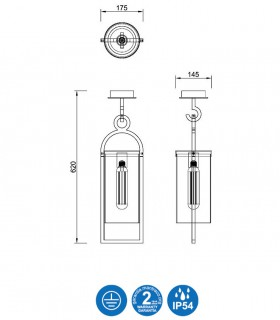 Dimensiones Lámpara plafón MAYA 1L IP54 gris 62cm 6554 - Mantra