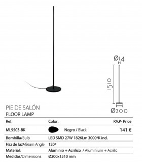 Características Lámpara de pie DIRLIGH 151cm LED 27W negro