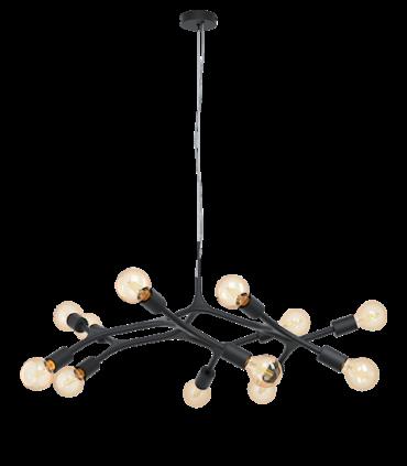 Lámpara techo madera vintage Bocadella 12 Luces Negro 98347
