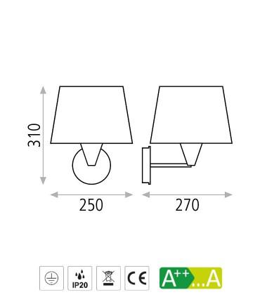 Dimensiones Aplique LISA con pantalla blanco o níquel E27 - ACB