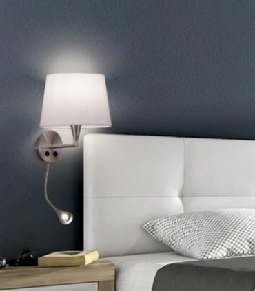 Aplique LISA + lector LED c/pantalla Níquel E27 - ACB