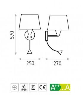 Dimensiones Aplique LISA + lector LED c/pantalla blanco o níquel E27 - ACB