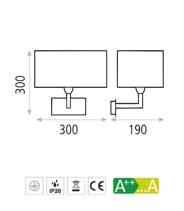 Dimensiones Aplique CARLO níquel o cuero con pantalla blanca E27 - ACB