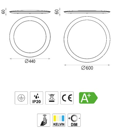 Características Plafón IMAX ACB blanco, negro con mando Ø44cm, Ø60cm