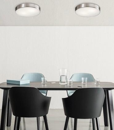 Plafones DINS de 2 bombillas E27 en níquel Ø26cm - ACB