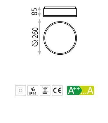 Dimensiones Plafón DINS 2 bombillas E27 en blanco o níquel Ø26cm - ACB