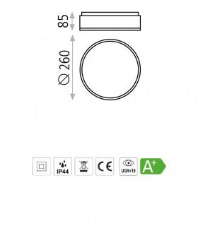 Dimensiones Plafón DINS LED en blanco o níquel Ø26cm - ACB