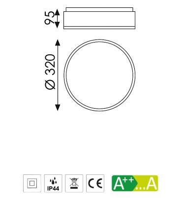 Dimensiones Plafón DINS 2 bombillas E27 en blanco o níquel Ø32cm - ACB