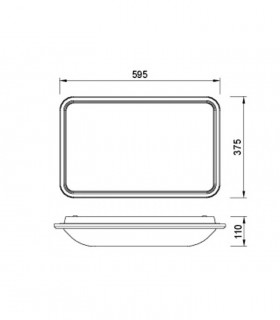 Plafón de techo FASE LED 36w 4000k MANTRA, 6248, dimensiones.
