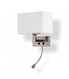 Aplique BENET + lector LED  níquel c/pantalla E27 - ACB