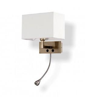 Aplique BENET + lector LED cuero c/pantalla E27 - ACB