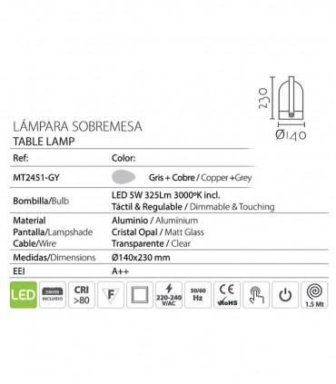 Características Lámpara Sobremesa táctil gris 5W ND26