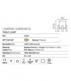 Características Lampara nórdica de mesilla madera y cristal E27 ND30