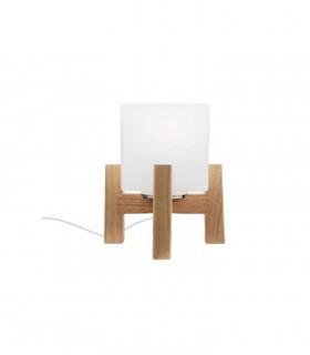 Lampara nórdica de mesilla madera y cristal E27 ND30