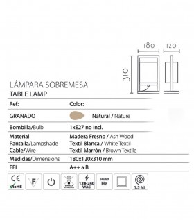 Características Lámpara de sobremesa madera rectangular pantalla ND31
