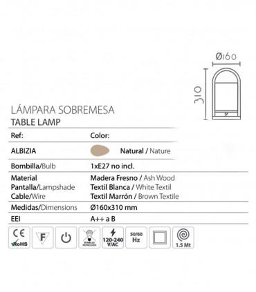 Características Lámpara de sobremesa madera pantalla ND32