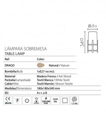 Características Lámpara de sobremesa madera pantalla ND33