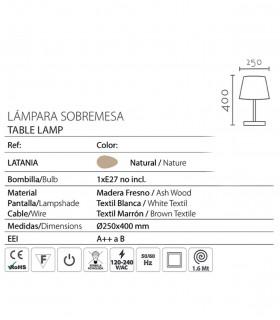 Características Lámpara de sobremesa madera con pantalla ND34