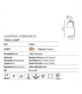 Características Lámpara de sobremesa madera con pantalla ND35