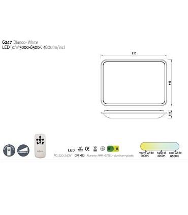 Plafón de techo FASE LED 90w MANTRA, 6247. Características.