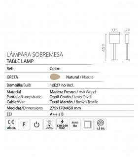 Características Lámpara de sobremesa madera con pantalla ND36