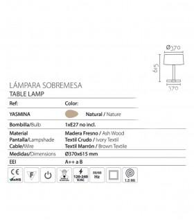 Características Lámpara de sobremesa madera con pantalla ND37