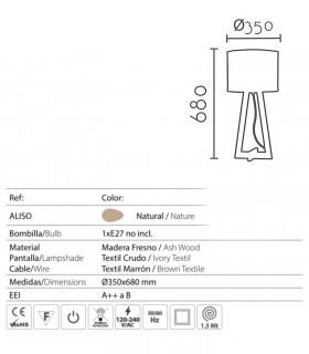 Lámpara de mesa madera con pantalla ND39