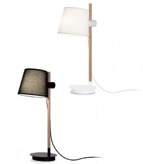 Lámpara de mesa madera con pantalla blanco o negro ND40