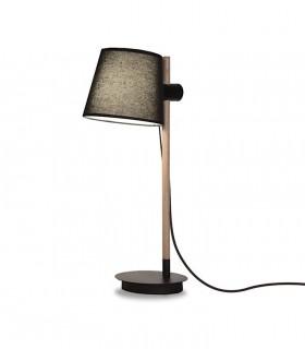 Lámpara de mesa madera con pantalla negro ND40