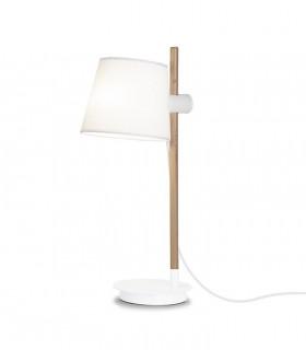 Lámpara de mesa madera con pantalla blanco ND40