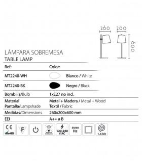 Características Lámpara de mesa madera con pantalla blanco o negro ND40