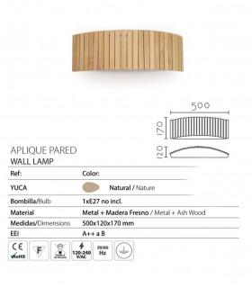 Características Aplique de pared madera natural 50cm E27 YUCA