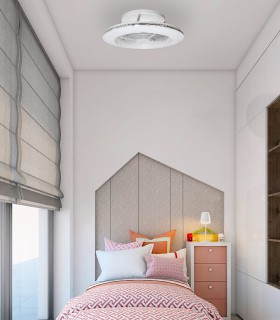 Ventilador Alisio MINI  blanco 7493 - Mantra, imagen de ambiente en dormitorio