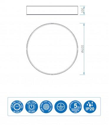 Características Plafón led CUMBUCO 60cm 50W 3750lm Mantra