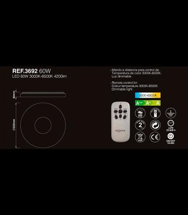 Plafón de techo Reef LED 60w regulable con mando - MANTRA, 3692, características.