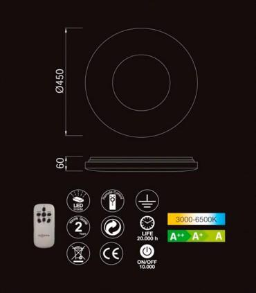 Plafón de techo Reef LED 48w regulable con mando - MANTRA, 5933, características
