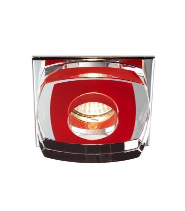 Empotrable Cristal Avalio GU10 cuadrado rojo - Cristalrecord