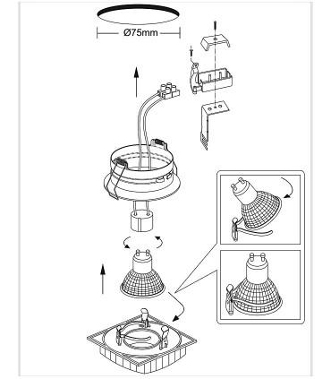 Instrucciones Aro Empotrable Cristal Avalio GU10 cuadrado espejo - Cristalrecord