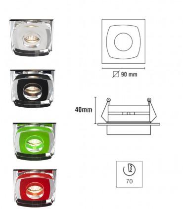 Dimensiones Aro Empotrable Cristal Avalio GU10 cuadrado espejo - Cristalrecord