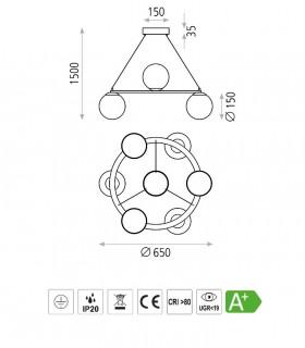 Dimensiones Lámpara KIN negro LED circular 30W Ø65cm - ACB