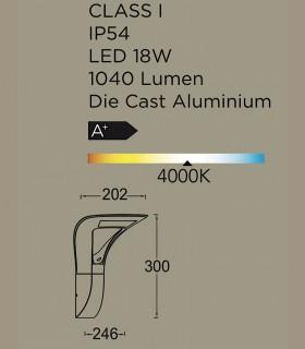 Aplique exterior led Aluminio 18W 1.040lm 4000K, especificaciones
