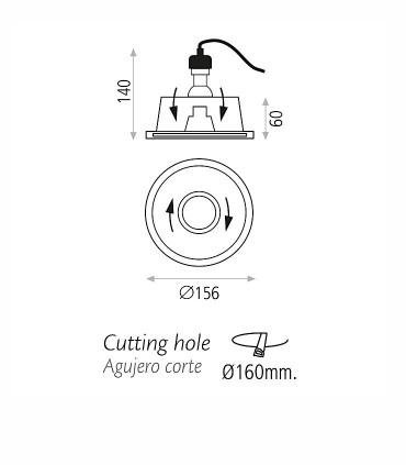 Dimensiones Aro empotrable orientable escayola GU10 DELTA - ACB