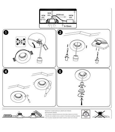 Instrucciones de montaje Aro empotrable escayola GU10 YOTA - ACB