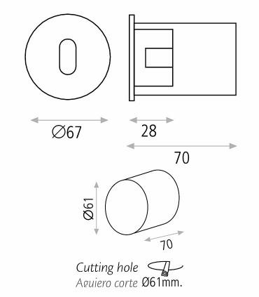 Dimensiones Foco empotrable de pared PAUL 3W - ACB