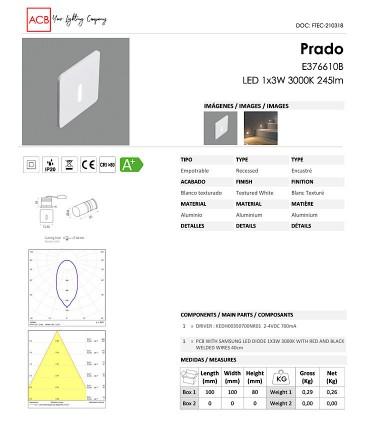 Hoja técnica Foco empotrable de pared PRADO 3W - ACB