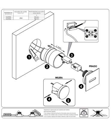 Manual de instalación Foco empotrable de pared PRADO 3W - ACB